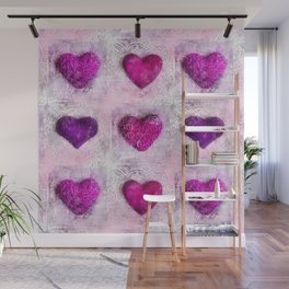 Pink Passion colorful heart pattern Wall Mural