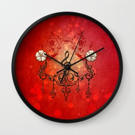 Music, clef with decorative floral elements Wall Clock