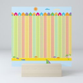Beach cabins pattern stripes Mini Art Print