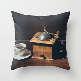 Vintage still life with coffee grinder Throw Pillow