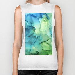 Blue Green Spring Marble Abstract Ink Painting Biker Tank