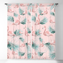 Blush Flamingo Palm Vibes #1 #pastel #tropical #decor #art #society6 Blackout Curtain