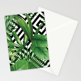 Vintage summer exotic jungle plant, tropical palm leaves. Floral vector on the black and white geometric background. Nature illustration pattern. Stationery Cards