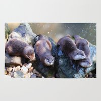 otters Area & Throw Rugs featuring Otters by Shalisa Photography