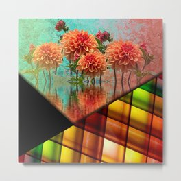 Colorful Flowers & Shapes Collage Metal Print