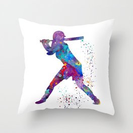 Girl Baseball Softball Batter Watercolour Sports Art Colorful Baseball Print Throw Pillow
