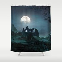 daenerys Shower Curtains featuring TOOTHLESS halloween by kattie flynn