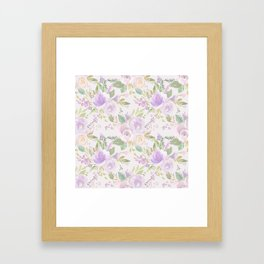 Blush lavender green watercolor hand painted floral Framed Art Print
