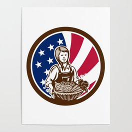 American Female Organic Farmer USA Flag Icon Poster