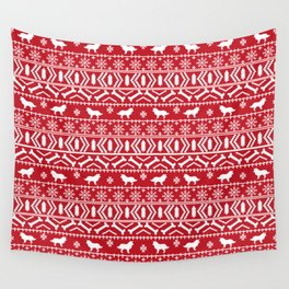 Border Collie fair isle christmas red and white holiday sweater dog breed gifts Wall Tapestry
