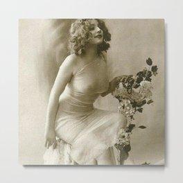 Ziegfeld Follies Jazz Age Paris Showgirl, 1929 black and white photograph Metal Print