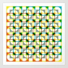 Colorful circle square pattern Art Print