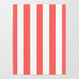 Pastel red - solid color - white vertical lines pattern Poster