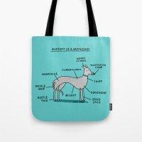 greyhound Tote Bags featuring Greyhound Anatomy by gemma correll