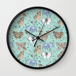 Mixed Blue Butterfly Nature Pattern Wall Clock