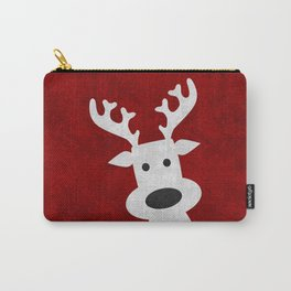 Christmas reindeer red marble Carry-All Pouch