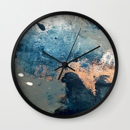 Wander [2]: a vibrant, colorful, abstract in blues, pink, white, and gold Wall Clock