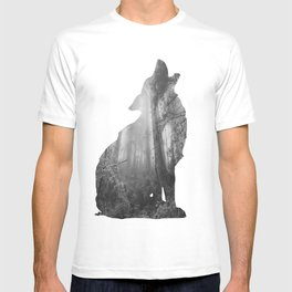 Wolf Silhouette   Forest Photography   Black and White T-shirt