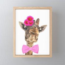 Giraffe funny animal illustration Framed Mini Art Print