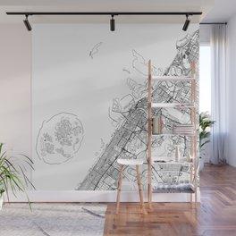 Dubai White Map Wall Mural