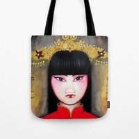 asia Tote Bags featuring Asia by Melanie Arias