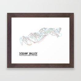Squaw Valley, CA - Minimalist Trail Map Framed Art Print