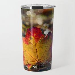 Autumn Maple Leaf with Bokeh Background Travel Mug