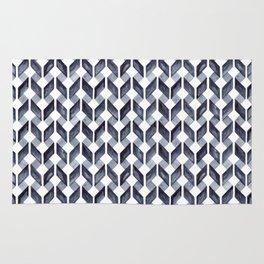 Watercolor Zig Zag Pattern - Indigo Blue Rug