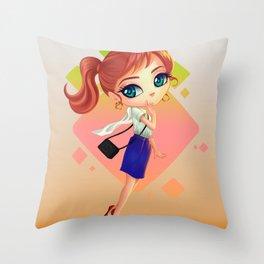 littlegirl with bag Throw Pillow