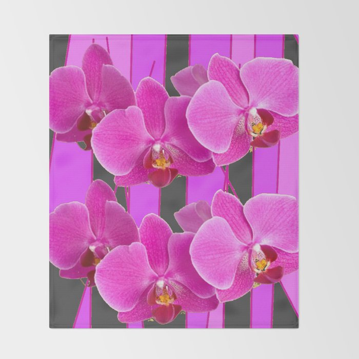 Modern Charcoal Grey Color Cerise Purple Orchids Throw Blanket By Sharlesart Society6