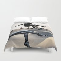 skate Duvet Covers featuring Skate Boarding by Cs025