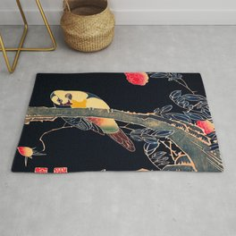 Parrot On A Flowering Rose Traditional Japanese Wildlife Rug