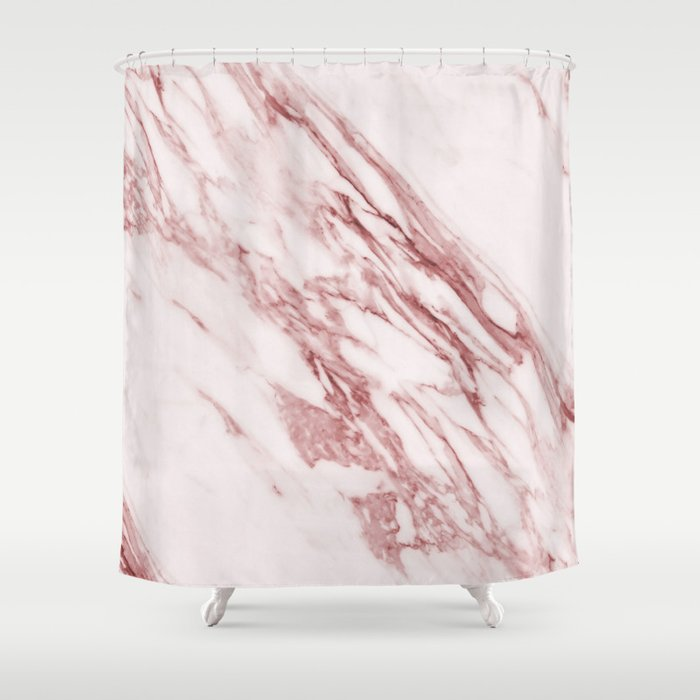 Deep Rose Pink Marble Shower Curtain