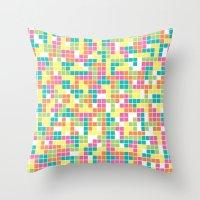 tetris Throw Pillows featuring Tetris by Alisa Galitsyna