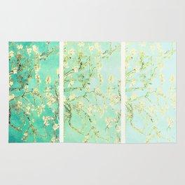 Vincent Van Gogh Almond Blossoms Panel art Aqua Green Rug