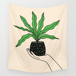 Hand Holding Houseplant Wall Tapestry