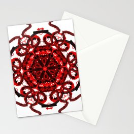Red Abstract Mandala Star Stationery Cards