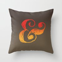 ampersand Throw Pillows featuring Ampersand by TheCore