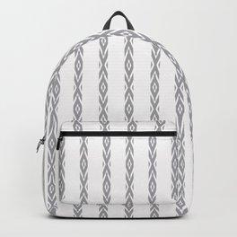 Grey decorative stripes on white. Backpack