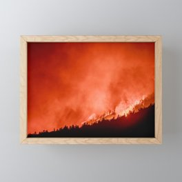 Burning Fire in the Forest | Nature and Landscape Photography Framed Mini Art Print