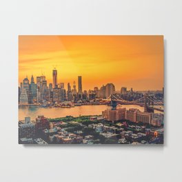 New York City Skyline with Brooklyn Bridge Metal Print