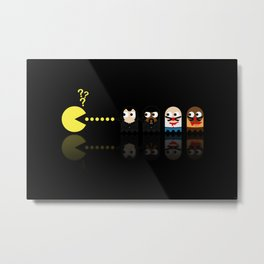 Pacman with Pulp Fiction Ghosts Metal Print