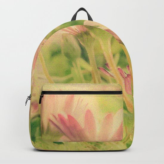 Vintage Spring Coral Pink Daisy Flowers Backpack