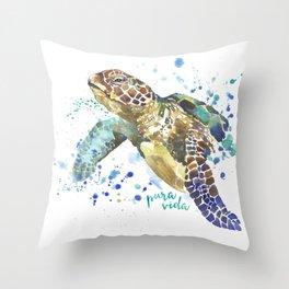 Sea Turtle Pura Vida Watercolor Throw Pillow