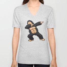 Dabbing Gorilla Shirt Ape Monkey Big Foot Dab Kids Unisex V-Neck