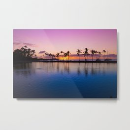 Sunset on Hawaiian Beach Metal Print