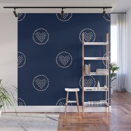 Seamless Simple Pattern with little hand drawn hearts Wall Mural