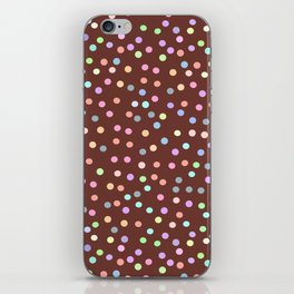chocolate Glaze with sprinkles. Brown abstract background iPhone Skin