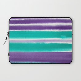 Teal and Purple Watercolor Stripes Laptop Sleeve