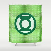 lantern Shower Curtains featuring Green Lantern by DeBUM